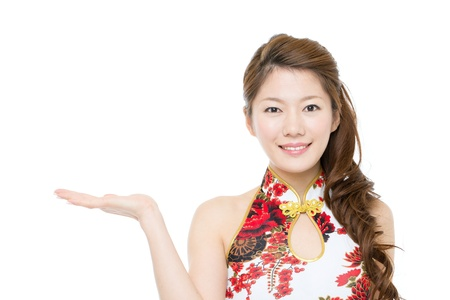 Beautiful asian woman wearing cheongsam  photo