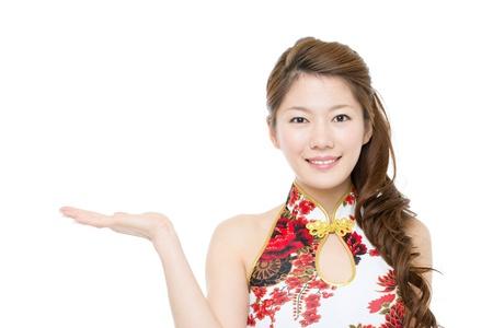 chinese dress: Beautiful asian woman wearing cheongsam