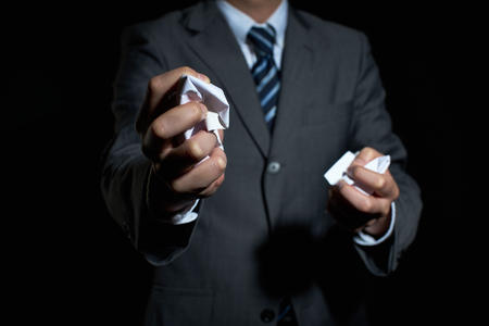 tear paper: Businessman tear paper concept for breaking contract