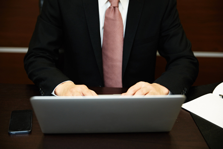 30 s: Businessman working with laptop computer Stock Photo
