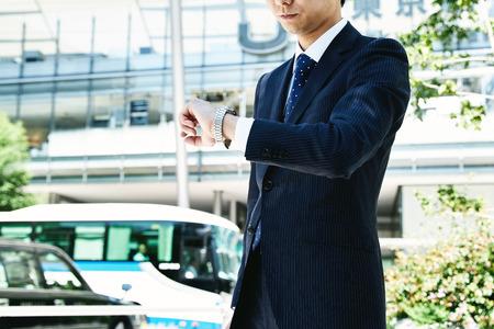 corporate building: Portrait of businessman outdoors