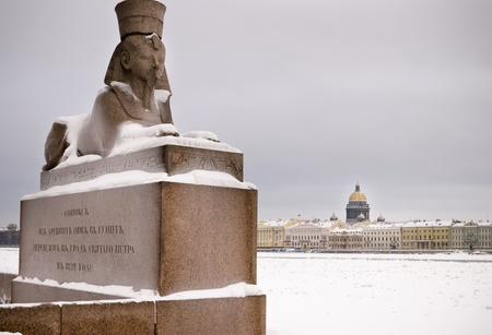 Egyptiac sphinx on the background of St. Isaacs Cathedral