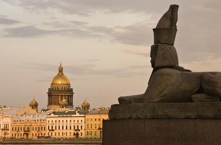 Sphinx on the background of St. Isaacs Cathedral Stock Photo