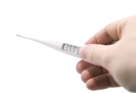 Electronic thermometer in hand