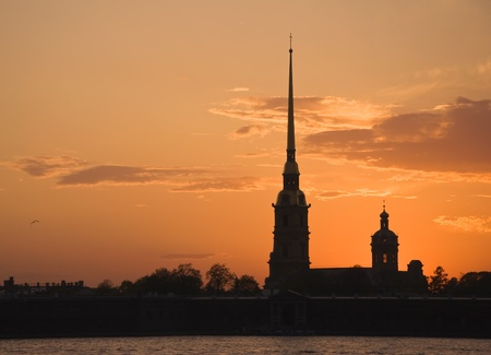 View of the Cathedral of Peter and Paul Fortress at sunset