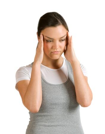 Caucasian girl suffering from headache