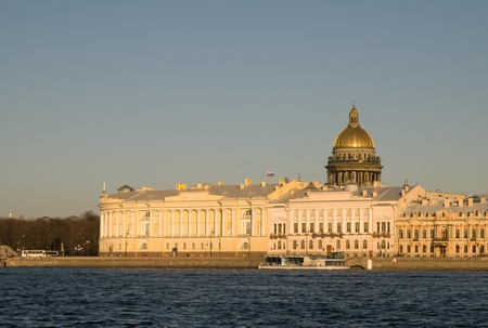 View over the Neva River on the English Embankment and St. Isaacs Cathedral Stock Photo