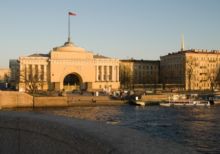 View over the Neva River on the Admiralty  in the evening