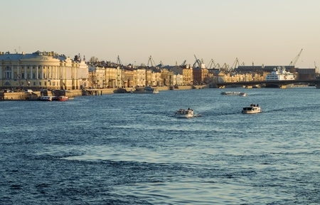 View over the Neva River on the English Embankment in the evening
