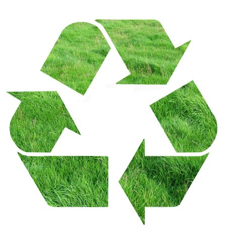 green recycle symbol on white photo