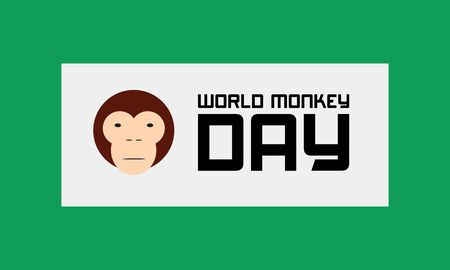 International Monkey Day celebration World Day of the Monkey 14th december on clean green and white background. Stock vector illustration.