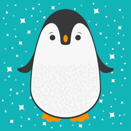 Cute happy cartoon penguin greeting card for Merry Christmas and New Year's celebration under snow and stars vector illustration.