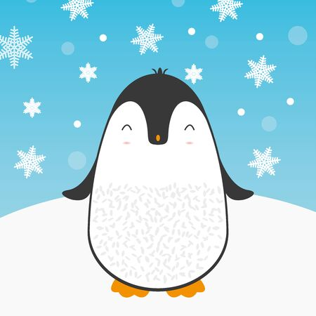 Cute cartoon penguin greeting card for Merry Christmas and New Year's celebration under snowflakes and snow vector illustration.