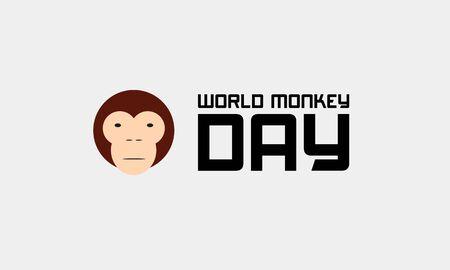 International Monkey Day celebration World Day of the Monkey 14th december on clean light background. Stock vector illustration. Reklamní fotografie