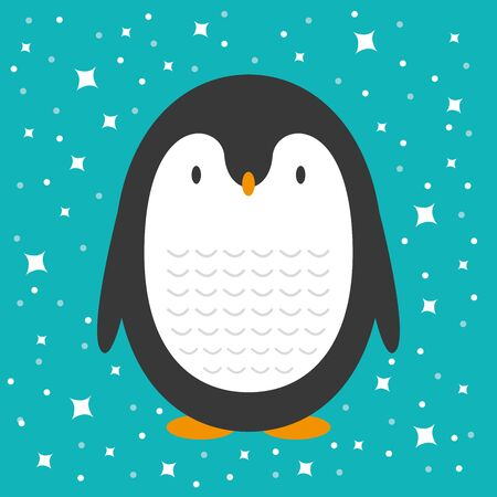 Cute cartoon penguin greeting card for Merry Christmas and New Year's celebration under stars and snow vector illustration.