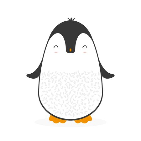 Cute cartoon penguin for Merry Christmas and New Year's celebration vector illustration.