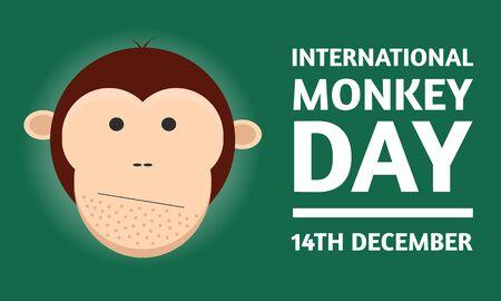 International Monkey Day celebration World Day of the Monkey 14th december on clean green background. Stock vector illustration. Reklamní fotografie