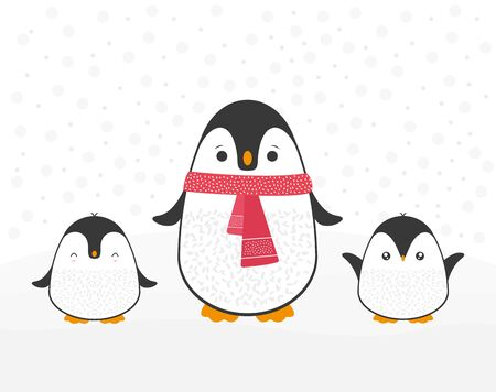 Cute cartoon penguin family greeting card for Merry Christmas and New Year's celebration with red scarf under snow doodle vector illustration. Reklamní fotografie
