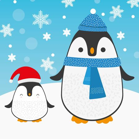 Cute cartoon penguin family for Merry Christmas and New Year's celebration with Red Santa hat, and blue scarf under snow and snowflakes vector illustration.