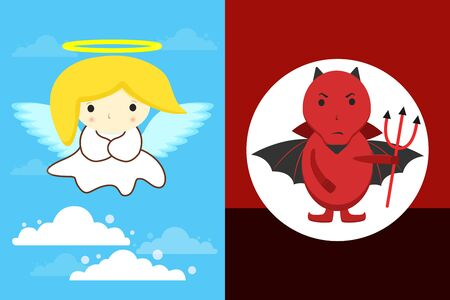 Angel in Clouds with yellow hair and white dress and halo and Red devil with black wings and pitchfork