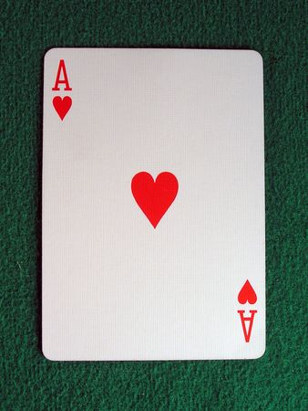 hold em: ace of hearts on a green felt table top.