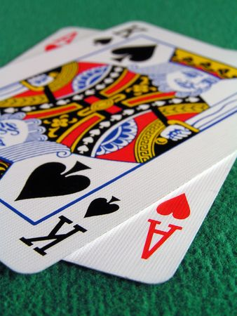 21: blackjack an ace and a king make 21 close up. Editorial