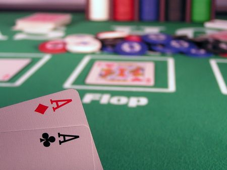 hold'em: Two aces as a starting hand in a Texas Holdem poker game. Stock Photo