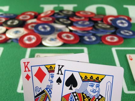 hold em: A pair of Kings as a starting hand in a game of texas holdem.