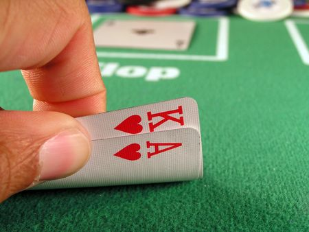 hold'em: ace and king of hearts as a hold�em poker starting hand