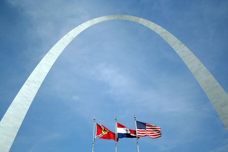 The Arch in St Louis, Missouri with flags