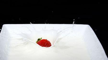 Fresh strawberry dropping into a dish of cream making a splash