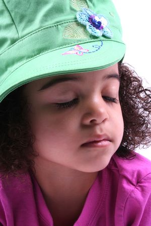 close up of a young toddler girls brown eyes