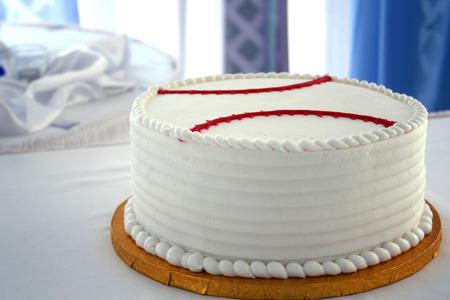 Grooms cake at a wedding shaped like a baseball Stock Photo