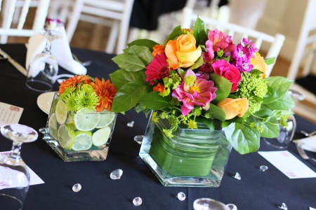 wedding table: A beautiful arrangement of flowers on table at reception