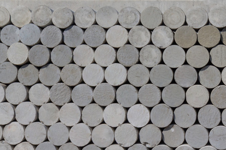 concrete surface finishing: Concrete cylindrical samples for concrete mixes testing Stock Photo