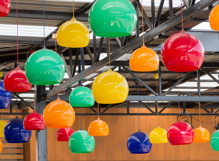 ceiling lamps: colorful Hanging ceiling lamps Stock Photo
