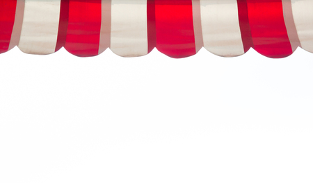 red and white stripe awning isolate on white background