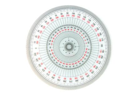 Équipement de mesure de cercle à 360 degrés sur fond blanc, rapporteur transparent
