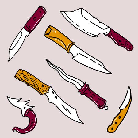 Hand drawn knifes set Illustration