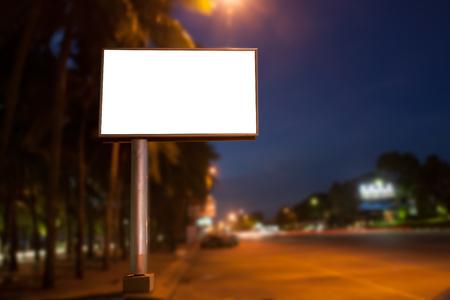 blank billboard: Blank billboard for advertisement at twilight Stock Photo