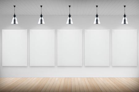 Gallery interior with blank canvas