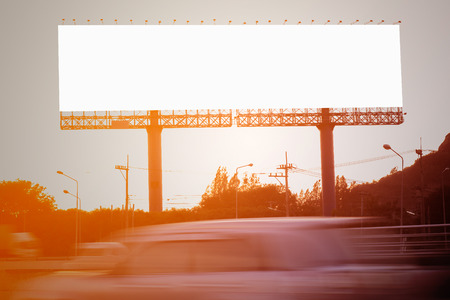 billboard background: Blank billboard or road sign on the moterway. Stock Photo
