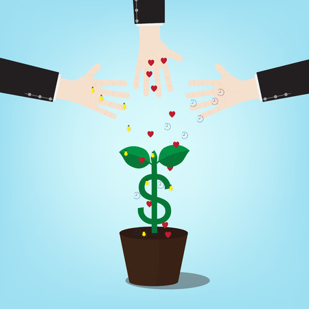 pay attention: Illustration of investment require time to pay attention to ideas. with money tree . Vector design of a new seed invest project monetization with concept money plant growing. Illustration