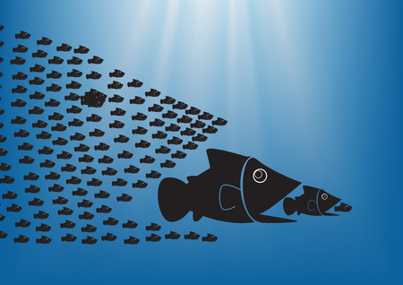 big fish: Many  fish together as big fish of concept business teamwork. Illustration