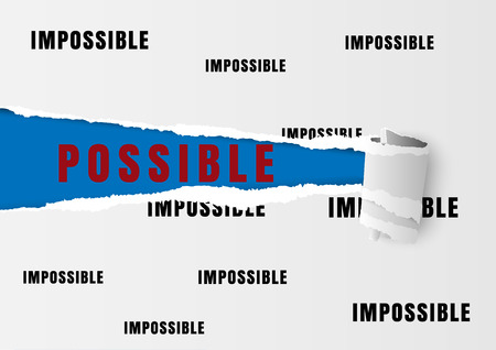 impossible: Against the current business concept as a metaphor for being impossible and  strategy solutions to a changing ideas as possible text written under white torn paper filled with impossible text.