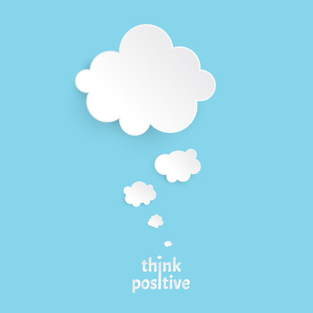 Think positive.Infographic design white thought bubble on the blue background. Eps 10 vector file. Illustration