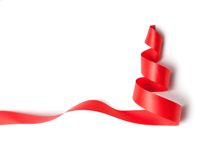 Christmas tree ribbon on a white background.