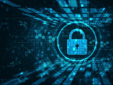 Cyber-Sicherheitskonzept: Vorhängeschloss mit Schlüsselloch-Symbol auf digitalen Daten Hintergrund. Veranschaulicht Cyber-Datensicherheit oder Information Privatsphäre Idee. Blaue abstrakte hallo Geschwindigkeit Internet-Technologie.