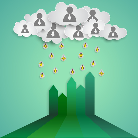 Business concept, Teamwork cloud fill Ideas on the growth chart.