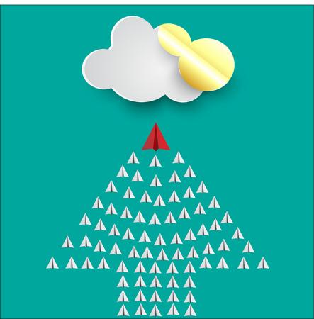 red paper plane leading white ones, leadership concept Illustration